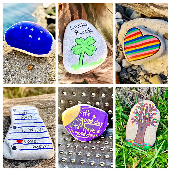 Decorated stones that have been placed around Shorewood by Mr Dittl.