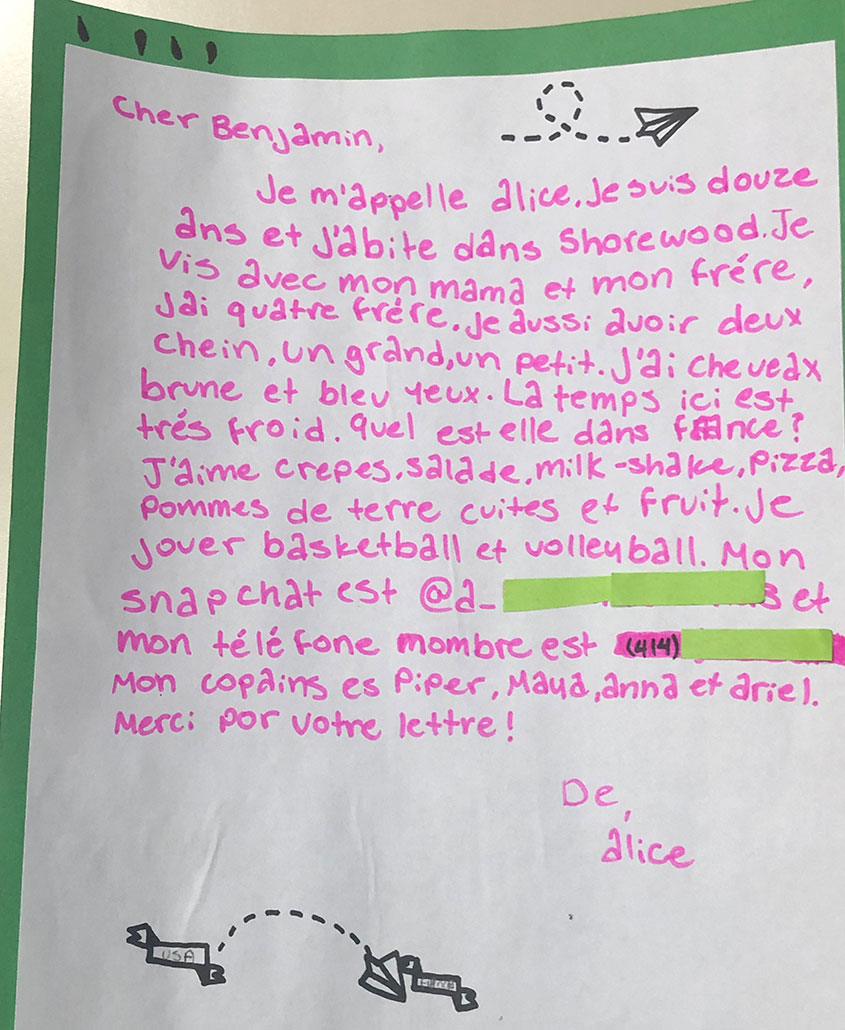 A letter exchanged during the pen pal program.