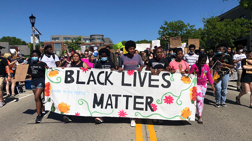 A Black Lives Matter protest organized by YRU students and community activists in Shorewood.