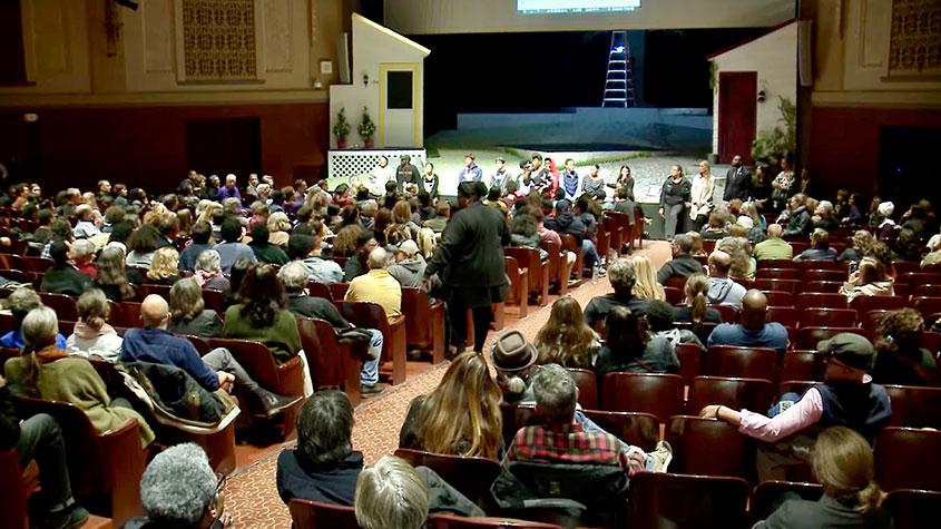 "Shorewood ""Community Conversation"" about race at SHS auditorium, October 2018."