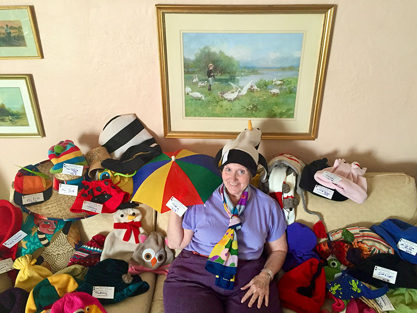 Crossing guard Betsy Barr and her incredible hat collection.