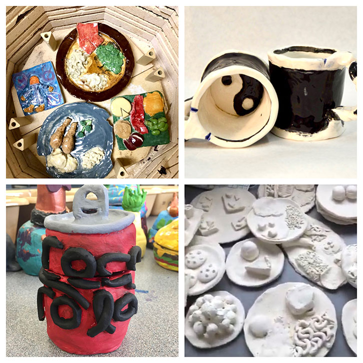 SIS ceramics projects shown inside a kiln, the Best Buddies Mug Fundraiser, and more.