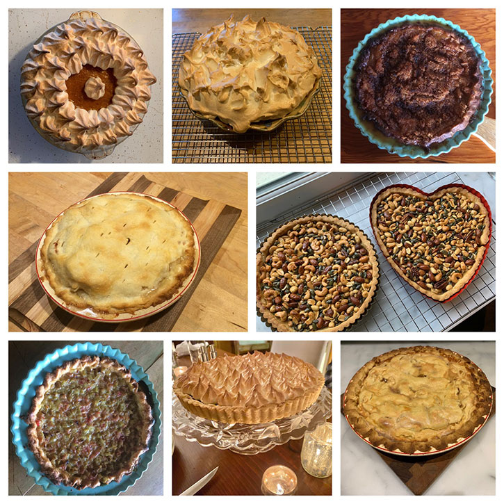 Just a few of the gourmet pies in Joy Peot-Shields' baking repertoire.