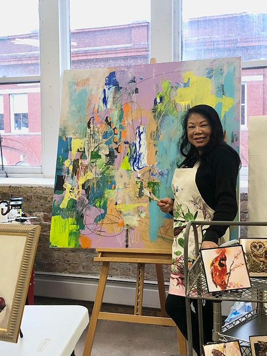 May Klisch at her art studio.