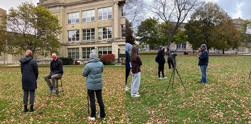 Fall 2020; Mike Halloran and Amelia Hernandez worked with students in the Video Journalism class on a project, all filmed safely outside of the school.